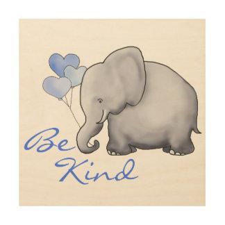 Impression Sur Bois Soyez crèche mignonne inspirée aimable d'éléphant