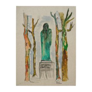 Impression Sur Bois Statue de Balzac par Rodin | Paris, France