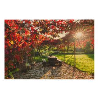 Impression Sur Bois Sun par le feuille d'automne, Croatie