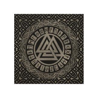 Impression Sur Bois Symbole métallique argenté de Valknut sur le motif