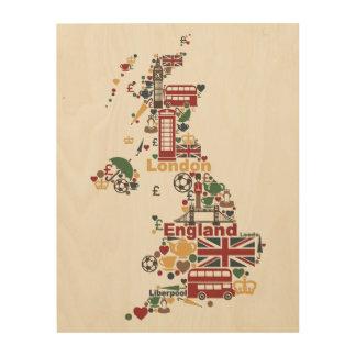 Impression Sur Bois Symboles de carte de l'Angleterre