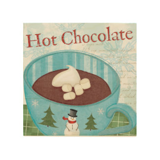 Impression Sur Bois Tasse de Noël avec du chocolat chaud