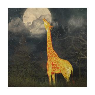 Impression Sur Bois Toile en bois de girafe et de lune  