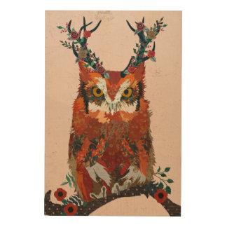 Impression Sur Bois Toile en bois de HIBOU FLORAL d'ANTLER