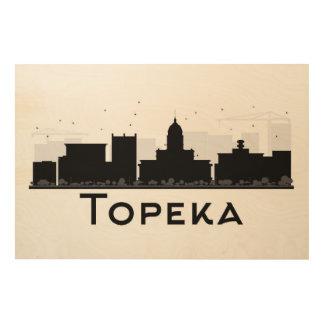 Impression Sur Bois Topeka, le Kansas horizon noir et blanc de | de