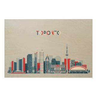 Impression Sur Bois Toronto, Canada horizon rouge, blanc et bleu de |