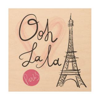 Impression Sur Bois Tour Eiffel tiré par la main