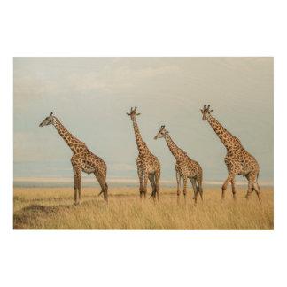 Impression Sur Bois Troupeau de girafe dans la prairie