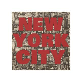 Impression Sur Bois Typographie de gratte-ciel de New York City |