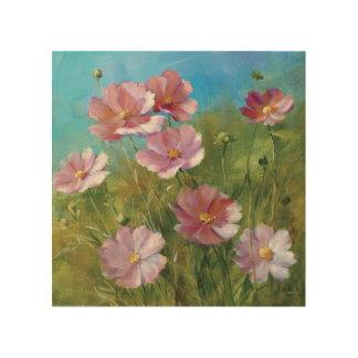 Impression Sur Bois Un jardin floral rose