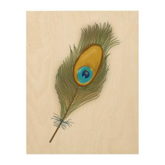 Impression Sur Bois Une plume colorée de paon