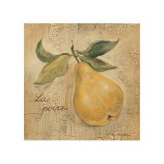 Impression Sur Bois Une poire jaune