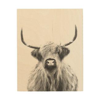 Impression Sur Bois Vache des montagnes noire et blanche
