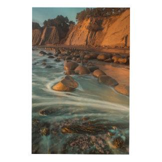 Impression Sur Bois Vague le long de la plage, la Californie