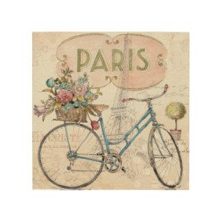 Impression Sur Bois Vélo de Paris avec des fleurs