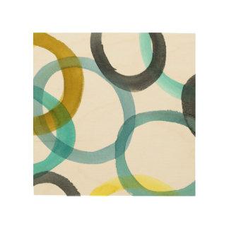 Impression Sur Bois Verrouillage des cercles jaunes et bleus