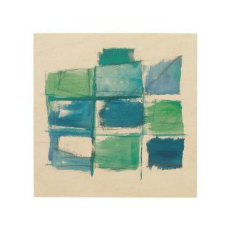 Impression Sur Bois Vert abstrait et bleu sur le blanc 4