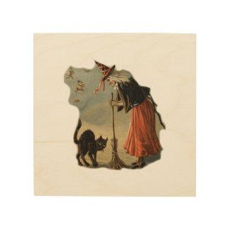Impression Sur Bois Vieille sorcière de Halloween avec le balai et un