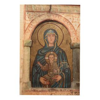 Impression Sur Bois Vierge Marie et mosaïque de Jésus