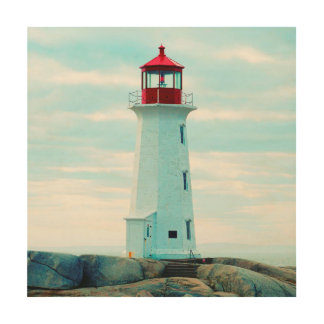 Impression Sur Bois Vieux phare, océan bleu, maritime, nautique