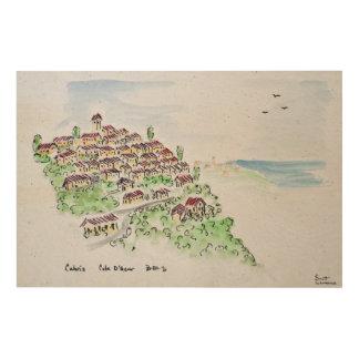 Impression Sur Bois Village de sommet de Cabris | Provence, France