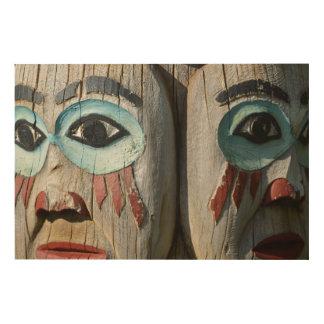 Impression Sur Bois Visages d'un totem Polonais, Alaska