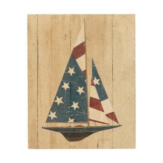 Impression Sur Bois Voilier avec le drapeau américain