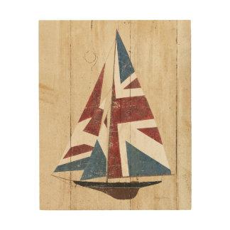 Impression Sur Bois Voilier britannique de drapeau