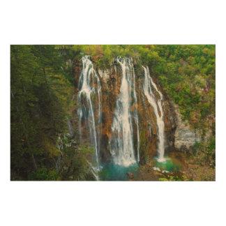 Impression Sur Bois Vue élevée par cascade, Croatie