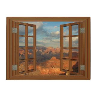 Impression Sur Bois Vue Etats-Unis de fenêtre de Faux de faux de