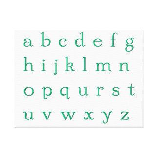 Impression sur toile alphabet vert