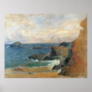 Impressionisme vintage, côte rocheuse par Gauguin Poster