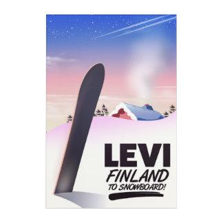 Impressions En Acrylique Affiche de voyage de snowboarding de Lévi Finlande
