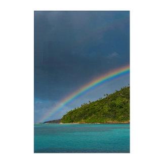 Impressions En Acrylique Arc-en-ciel au-dessus d'île, Samoa américaines