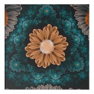 Impressions En Acrylique Beau chrysanthème de paradis d'orange et d'Aqua