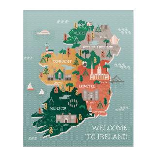 Impressions En Acrylique Carte de voyage des points de repère et des villes