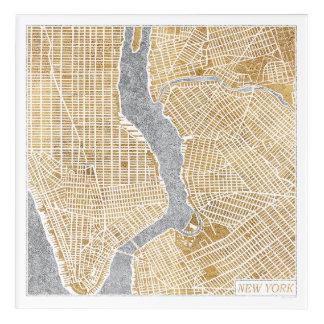 Impressions En Acrylique Carte dorée de ville de New York