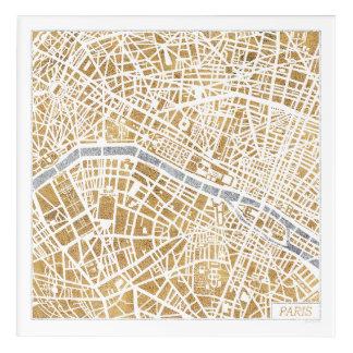 Impressions En Acrylique Carte dorée de ville de Paris
