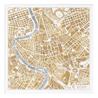 Impressions En Acrylique Carte dorée de ville de Rome