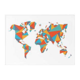 Impressions En Acrylique Carte géométrique abstraite du monde