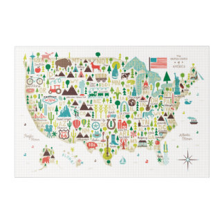 Impressions En Acrylique Carte illustrée des Etats-Unis