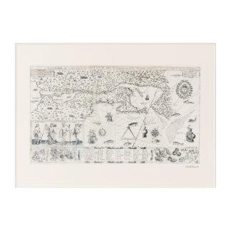 Impressions En Acrylique Carte médiévale Québec Nouvelle-France Amérique du