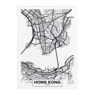 Impressions En Acrylique Carte noire et blanche de ville de Hong Kong,