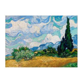 Impressions En Acrylique Champ de blé avec des cyprès par Vincent van Gogh
