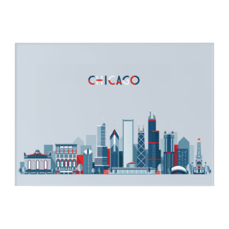 Impressions En Acrylique Chicago, l'Illinois horizon rouge, blanc et bleu