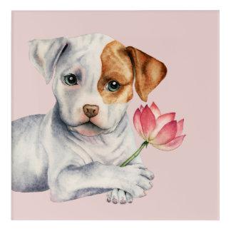 Impressions En Acrylique Chiot de pitbull tenant la peinture de fleur de