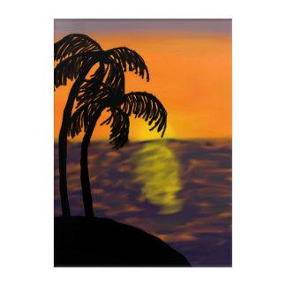 Impressions En Acrylique Coucher du soleil d'océan avec la peinture de