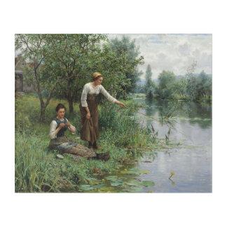 Impressions En Acrylique Deux femmes pêchant par le chevalier de Daniel