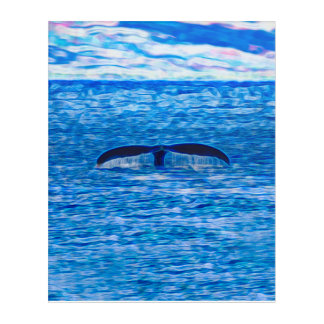 Impressions En Acrylique Fractale de queue de baleine bleue et rose