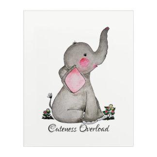 Impressions En Acrylique L'éléphant mignon de bébé d'aquarelle avec